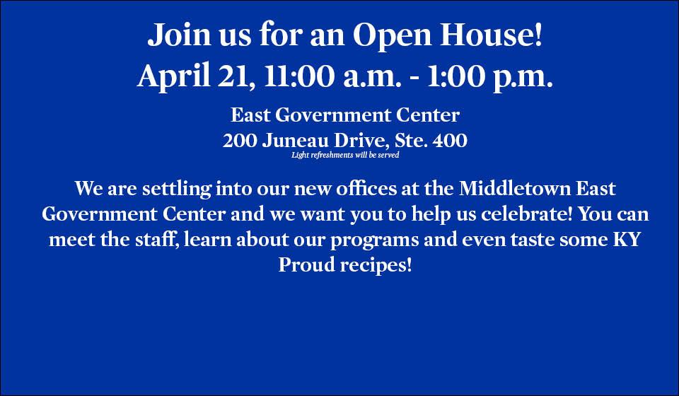 Open House, April 21, 11 to 1